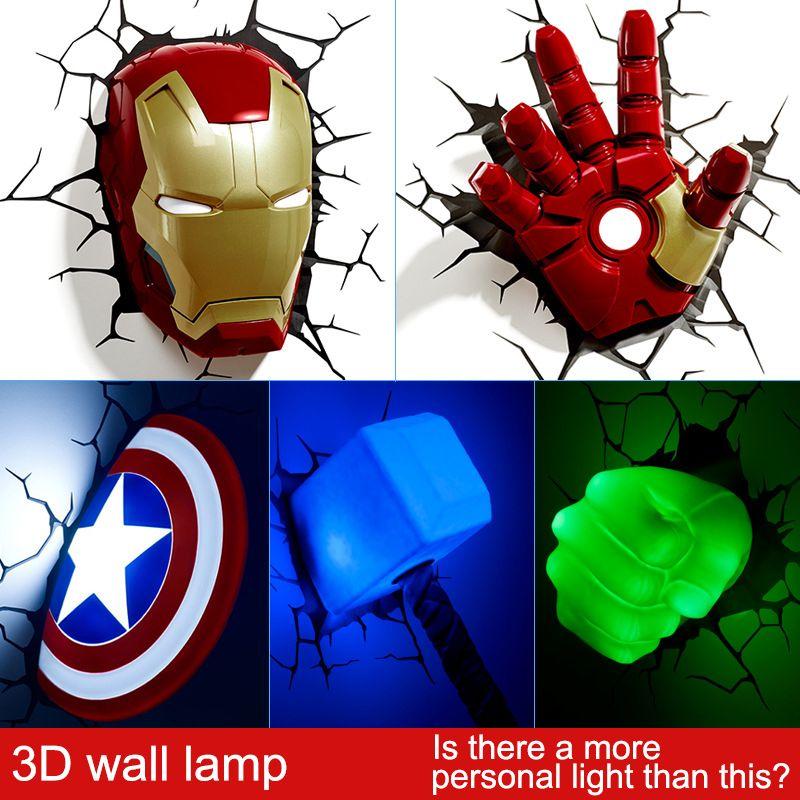 Marvel avengers LED salón dormitorio de noche lámpara de pared creativo 3D decorado con la luz luz de la noche