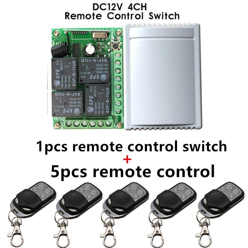 433 Mhz universel sans fil télécommande commutateur DC12V 4CH relais récepteur Module et 5 pièces 4 canaux RF télécommande 433 Mhz émetteur