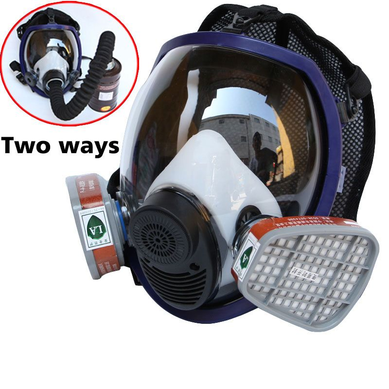 Gas masks Full Face Respirator Gas Mask Breather 2 in 1 Function 6800 Silicone Mask for Industry Painting Spraying Anti-dust