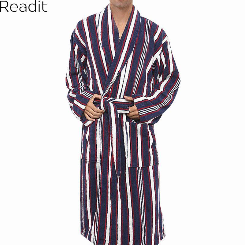 Robes Mâle 100% Coton Éponge Peignoirs Toweled Peignoir de Pyjamas Kimono Hommes Hommes Vêtements De Nuit Longues Hommes Robe 2017 PA1823