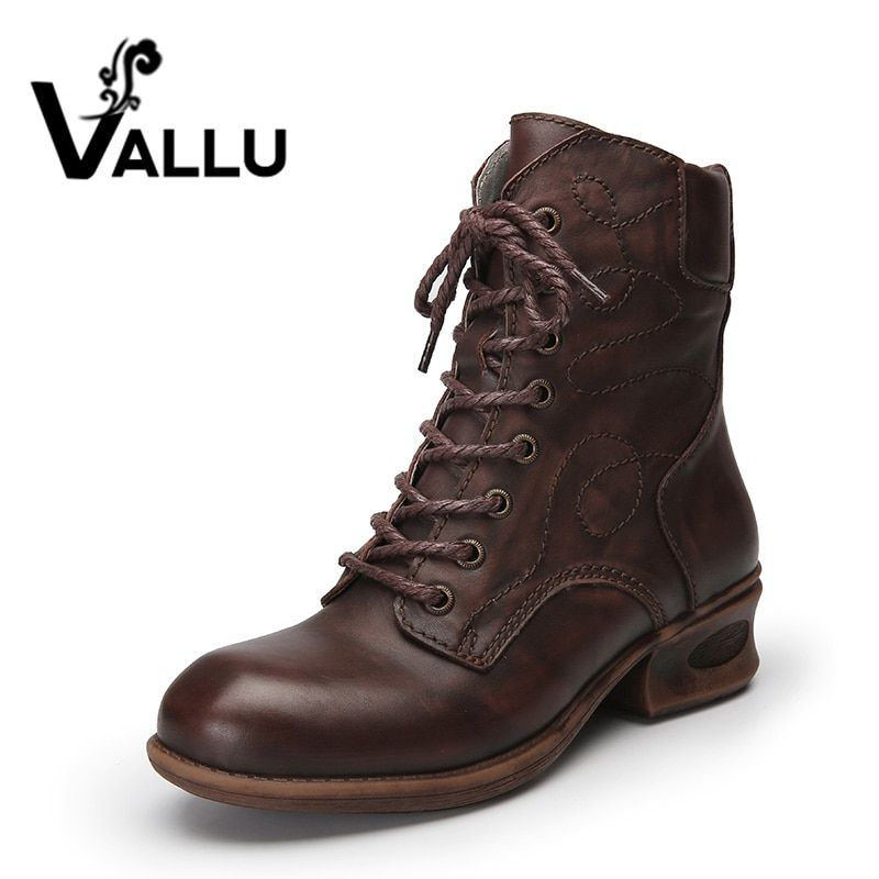 Vallu осень 2017 г. Обувь женские ботильоны Пояса из натуральной кожи на низком каблуке Кружево Up теплые женские ботинки