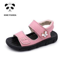 Kine Panda Musim Panas Anak Sepatu Anak Perempuan Anak Laki-laki Sandal Pantai Anak-anak Kecil Kulit Asli Anak Balita Lembut Sandal Anti-Slide 0-6Y