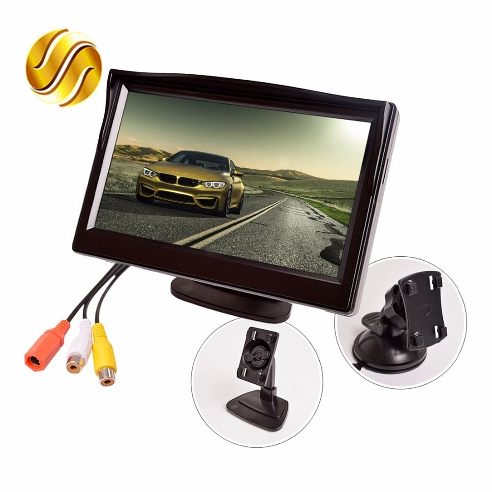 5 Car Monitor TFT LCD 5.0 Inch 800*480 16:9 Screen 2 Way Video Input HD Digital Colorful For Rear View Reverse Camera VCD DVD