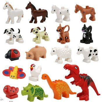 Animal Forest Farm Models Figures Dinosaur Compatible with Duplo Toy DIY Building Creative Blocks Children Toy