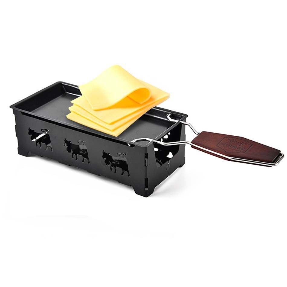 Mini Solid Wood handle Cheese plate baking tools Cheese tray Home baking oven microwave oven use Non-Stick Cheese pan dish