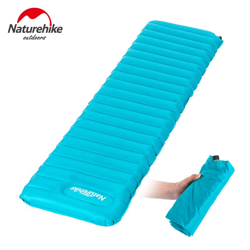 NatureHike Manually Inflatable Cushion 183x50x9cm Camping Mat Tent Air Mattress Outdoor Moisture-proof Pad NH15T051-P