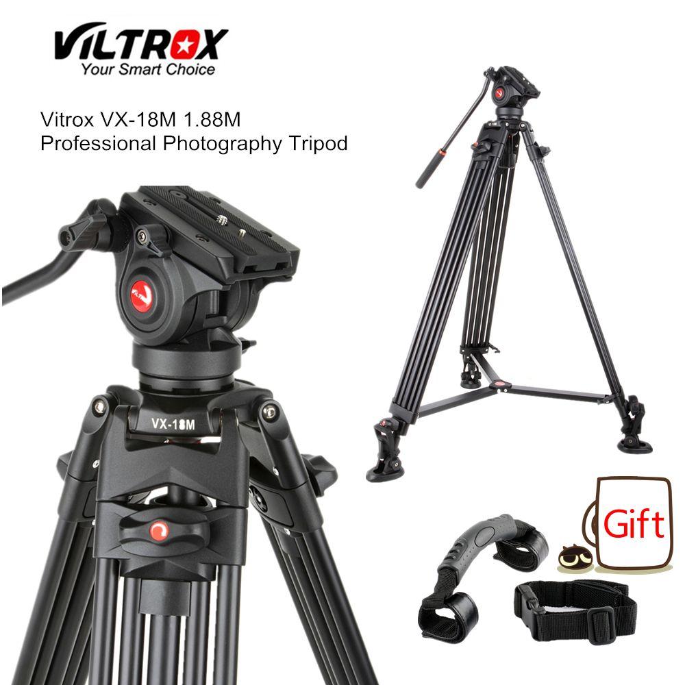 Viltrox VX-18M 1.8M Professional Portable Heavy Duty Stable Aluminum Non-slip Video + Tripod Hydraulic head for Video Camera DV