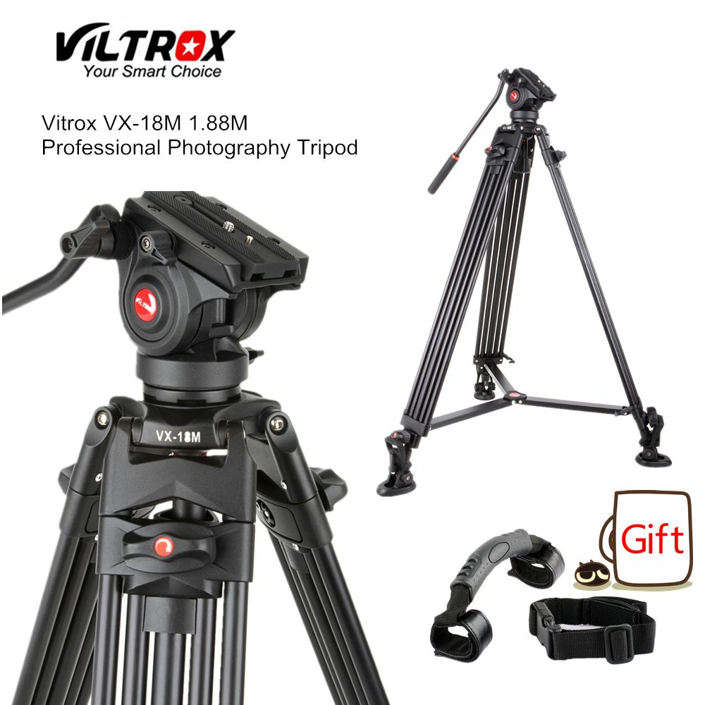 Viltrox VX-18M 1.8M Professional Portable Heavy Duty Stable Aluminum Non-slip Video + Tripod Hydraulic head for Video Camera DV