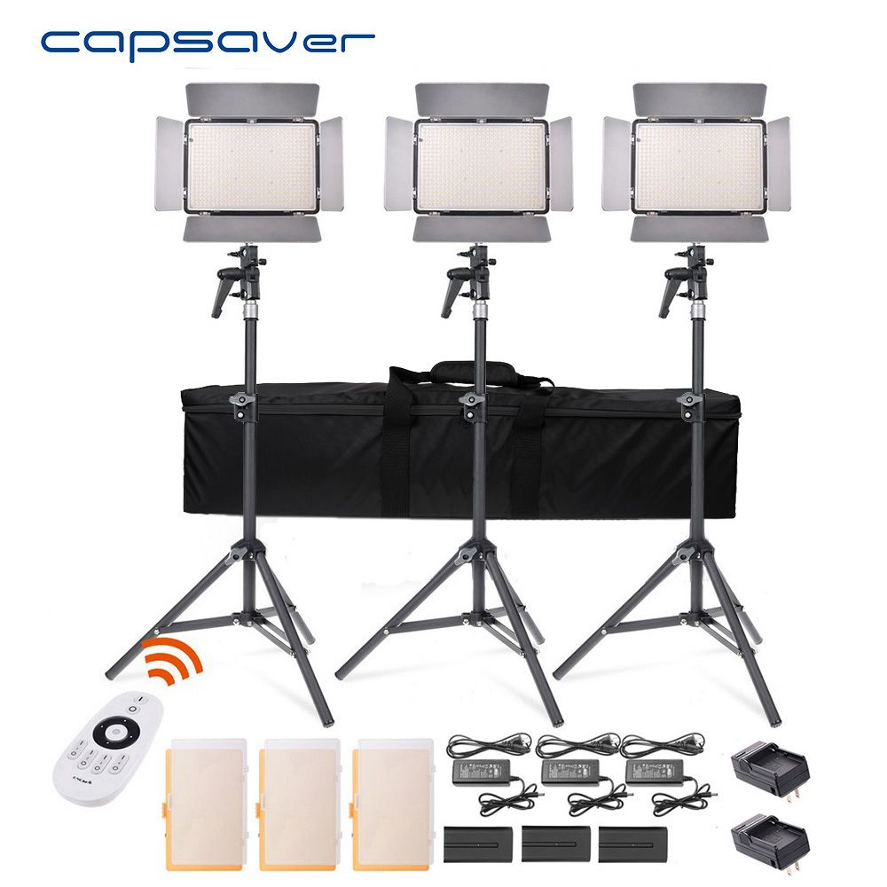 capsaver TL-600S LED Video Light 3 in 1 Kit Photography Lighting with Tripod Remote Control 600 LEDs 5500K CRI 90 Studio Light