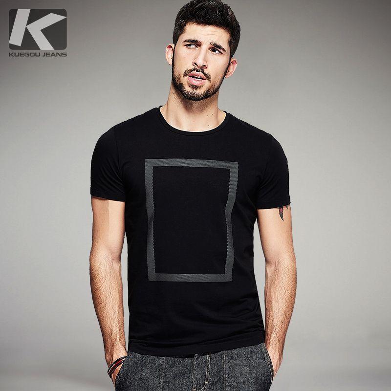 KUEGOU 2017 D'été Hommes De Mode T Chemises Imprimer Noir Blanc marque de Vêtements Homme À Manches Courtes Slim T-Shirts Plus La Taille T-shirts 1613