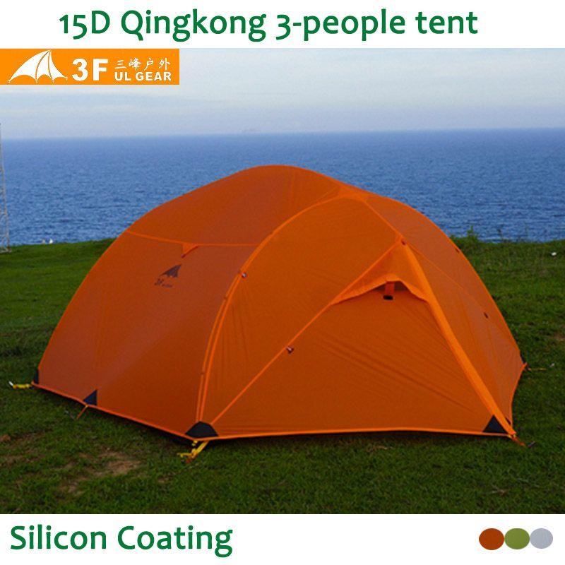 3F UL Getriebe Qinkong 15D silicon Beschichtung 3-person 4-Jahreszeiten Camping Zelt mit Passenden Boden Blatt