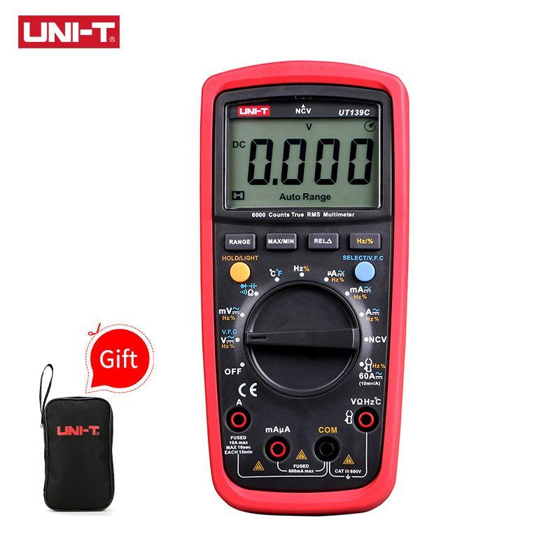 UNI-T UT139C Digital Multimeter Auto Range True RMS Meter Handheld <font><b>Tester</b></font> 6000 Count Voltmeter Temperature Test transistor