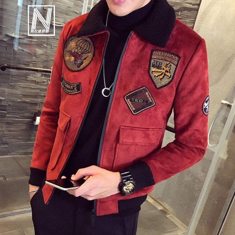 Red Bomber Jackets Mens Pilot Jackets Mens Jackets And Coat Mens Fur Collar Erkek Khaki Winter Slim Fit Deerskin Parka Velvet