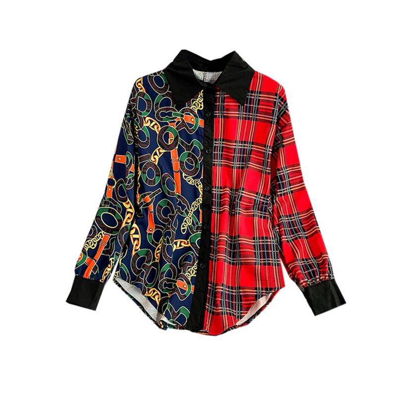 NiceMix 2019 Summer Spring New Lattice Geometric Abstract Pattern Stitching Long Sleeve Loose Lazy Wind Shirt Tops Women Blouse