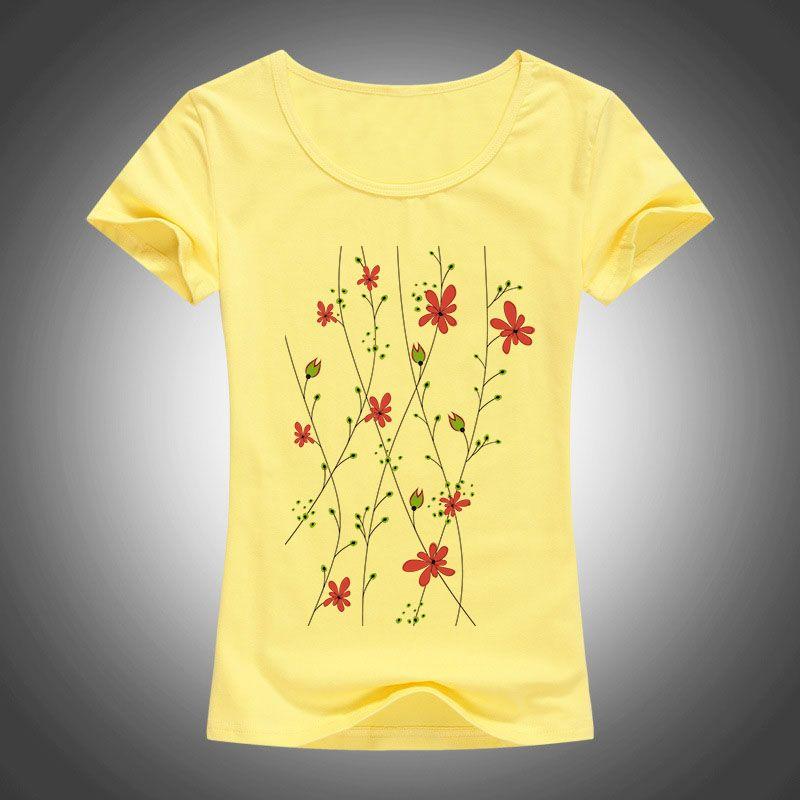 2016 style d'été coton Mince t-shirt femmes Bande Dessinée fleurs imprimé camisas femininas manches courtes Chemises de mode tops 1904