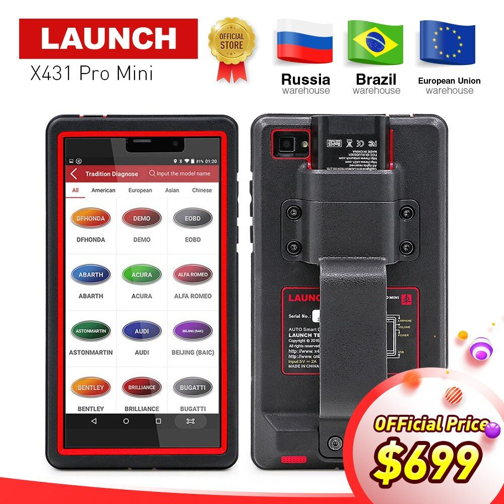 LAUNCH X431 Pro Mini Auto diagnostic tool Support WiFi/Bluetooth full system X-431 Pro Pros Mini Car Scanner 2 years free update