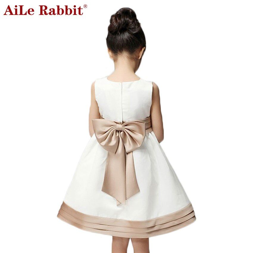 AiLe Rabbit New Arrival 2016 Girl Summer Dress for Kids Children Clothes Princess Bow Cute Dress Vestidos