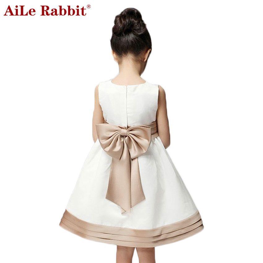 AiLe Rabbit New Arrival <font><b>2016</b></font> Girl Summer Dress for Kids Children Clothes Princess Bow Cute Dress Vestidos