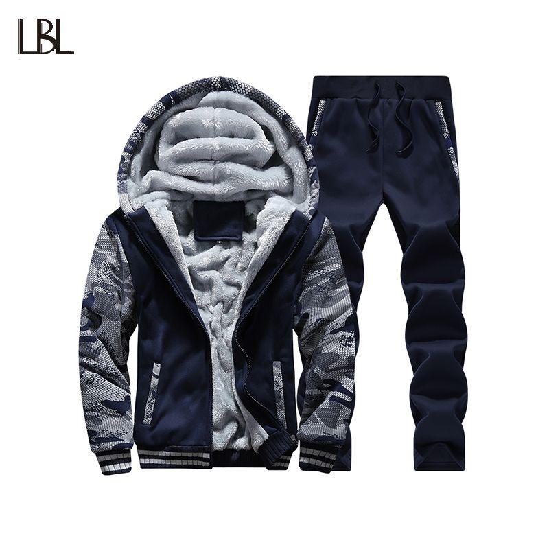 Tracksuit Men Camouflage Army Casual Hooded Warm Sweatshirt Male Winter Thick Inner Fleece 2PC Jacket+Pant Men Moleton Masculino