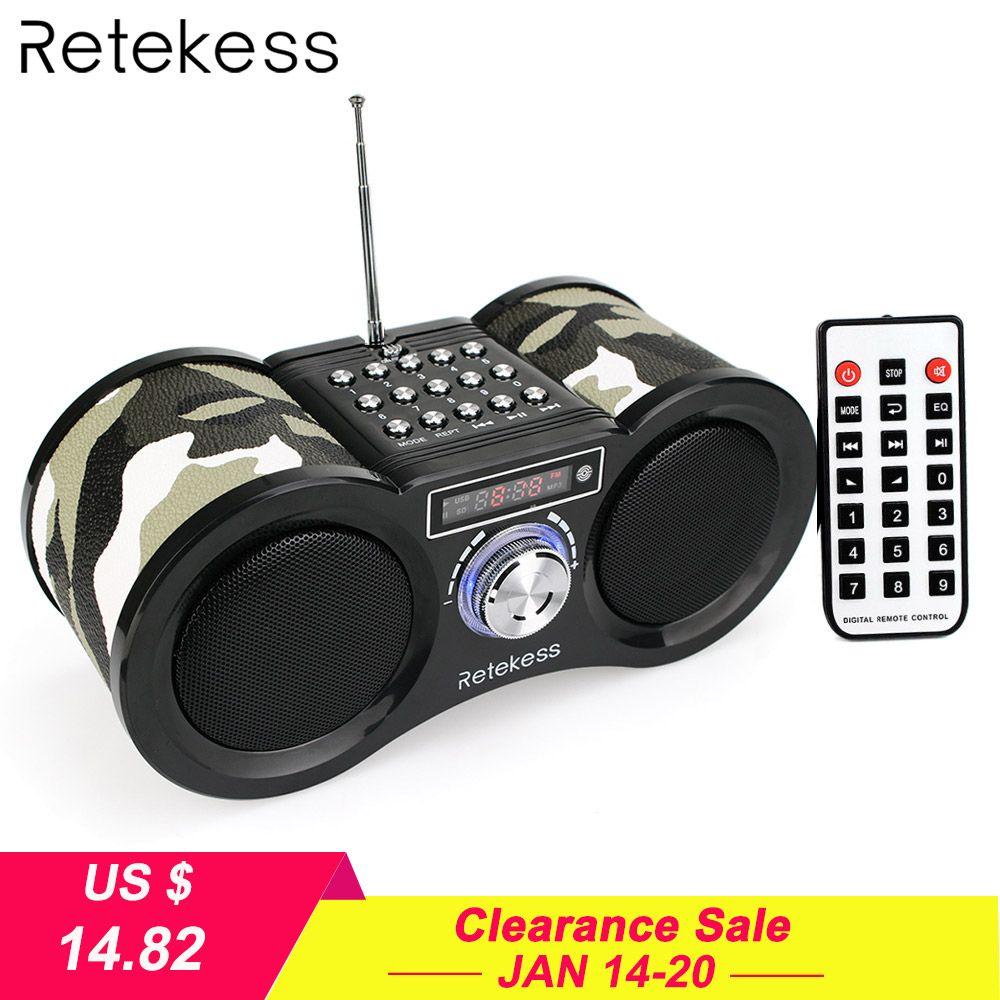 Retekess V113 FM Radio Stereo Digital Radio Receiver Speaker USB Disk TF Card MP3 Music Player Camouflage + Remote Control