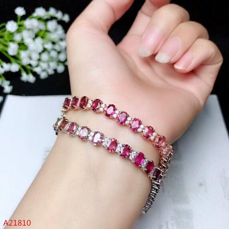 KJJEAXCMY fine jewelry 925 pure silver inlaid natural tourmaline bracelet, female style fire colored jewelry.