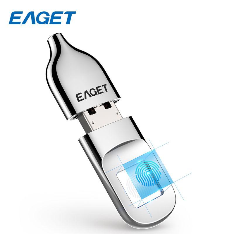 EAGET USB Flash Drive 32GB Pendrive USB 2.0 Recognition Fingerprint Encryption Flash Disk 64GB Memory USB Stick Mini Pen drive