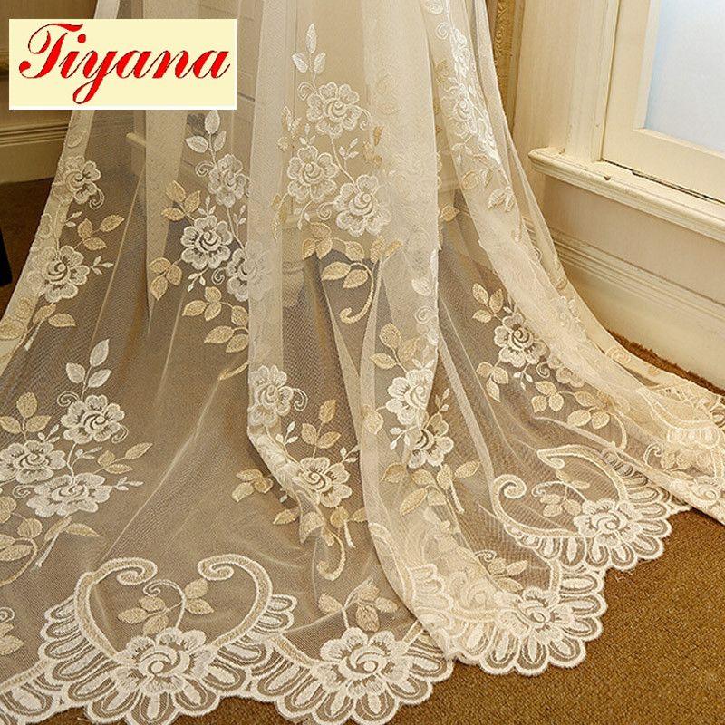 Broderie Rideaux Valance Pour Chambre Salon Fenêtre Dépistage Coréen Rustique Blanc Fleur Voile Tulle Rideaux WP364 * 30