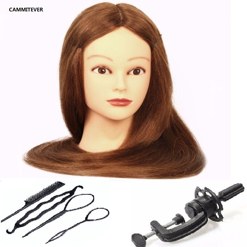 CAMMITEVER 20 pouces cheveux blonds Mannequin tête Salon cadeaux perruques formation femme Mannequin tête coiffure cosmétologie coiffeurs