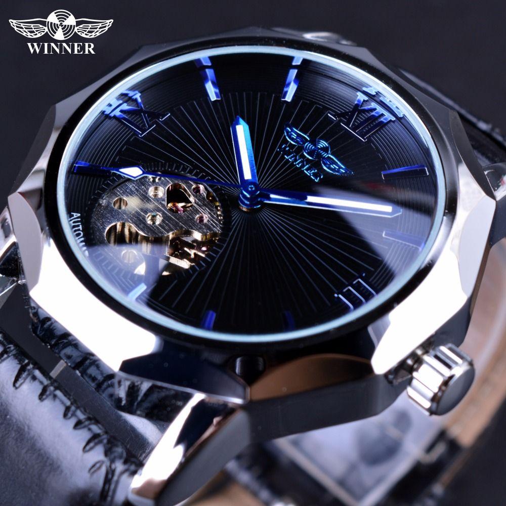 Gagnant Bleu Océan Géométrie Conception Transparent Squelette écran de montre hommes Top Marque De Luxe Automatique De Mode horloge mécanique