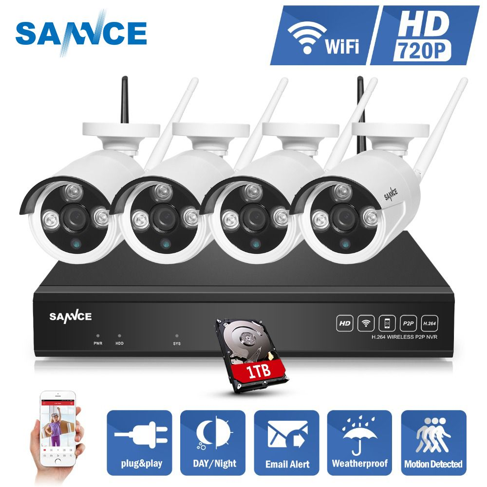 SANNCE NVR Kits 4CH IR CCTV Security Wireless IP Camera System 720P CCTV Set Outdoor Wifi Cameras Video NVR Surveillance KIT 1TB