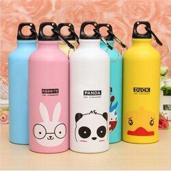 Candy Color 500ML Cute Cartoon Pattern Aluminum/wheatstraw Water Bottle Outdoor Travel Sports Kitchen Accessories