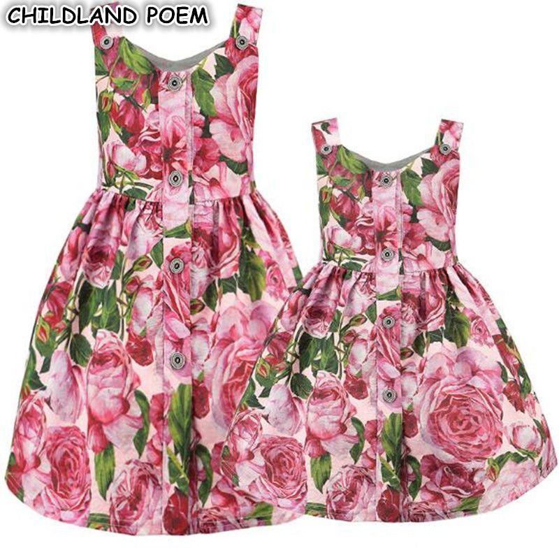 Платья для мамы и дочки Цветочный принт Семейные Комплекты Одежда «Мама и я» семейная одежда вечерние платье для мамы и дочки