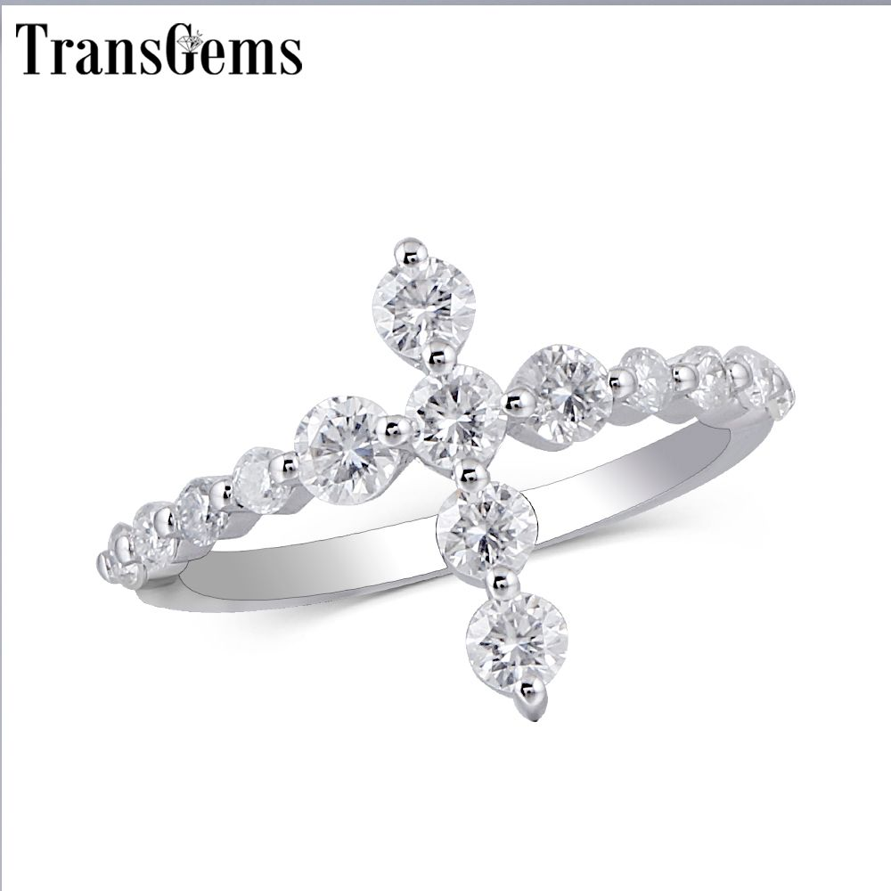 Transgems Cross Shaped 14K White Gold Promise Ring for Women Gift 3MM Moissanite F color Excellent Cut Women Ring Fine Jewelry