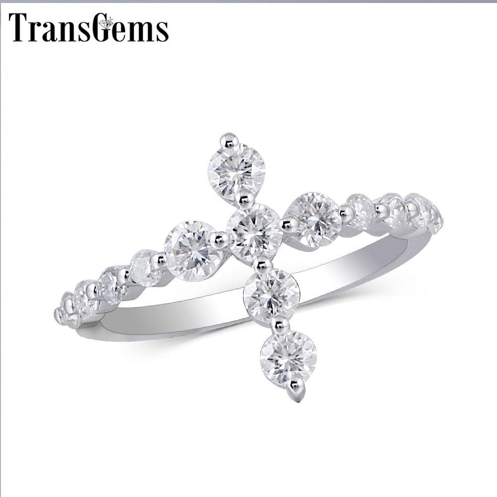 Transgems Cross Shaped 14K White Gold Promise Ring for Women Gift 3MM Moissanite F color Excellent Cut Women Ring Fine Jewelry