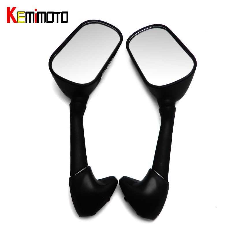 KEMiMOTO RearView Mirrors For Yamaha R1 1998 1999 2000 2001 &R6 1999-2005 & R6S 2006-2008 Black Style Racing Replacement Mirrors