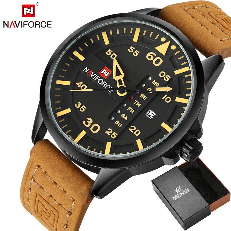 NAVIFORCE Original Luxury Brand Army Military Quartz Watches Men <font><b>Hour</b></font> Clock Sports Leather Wristwatch relogio masculino