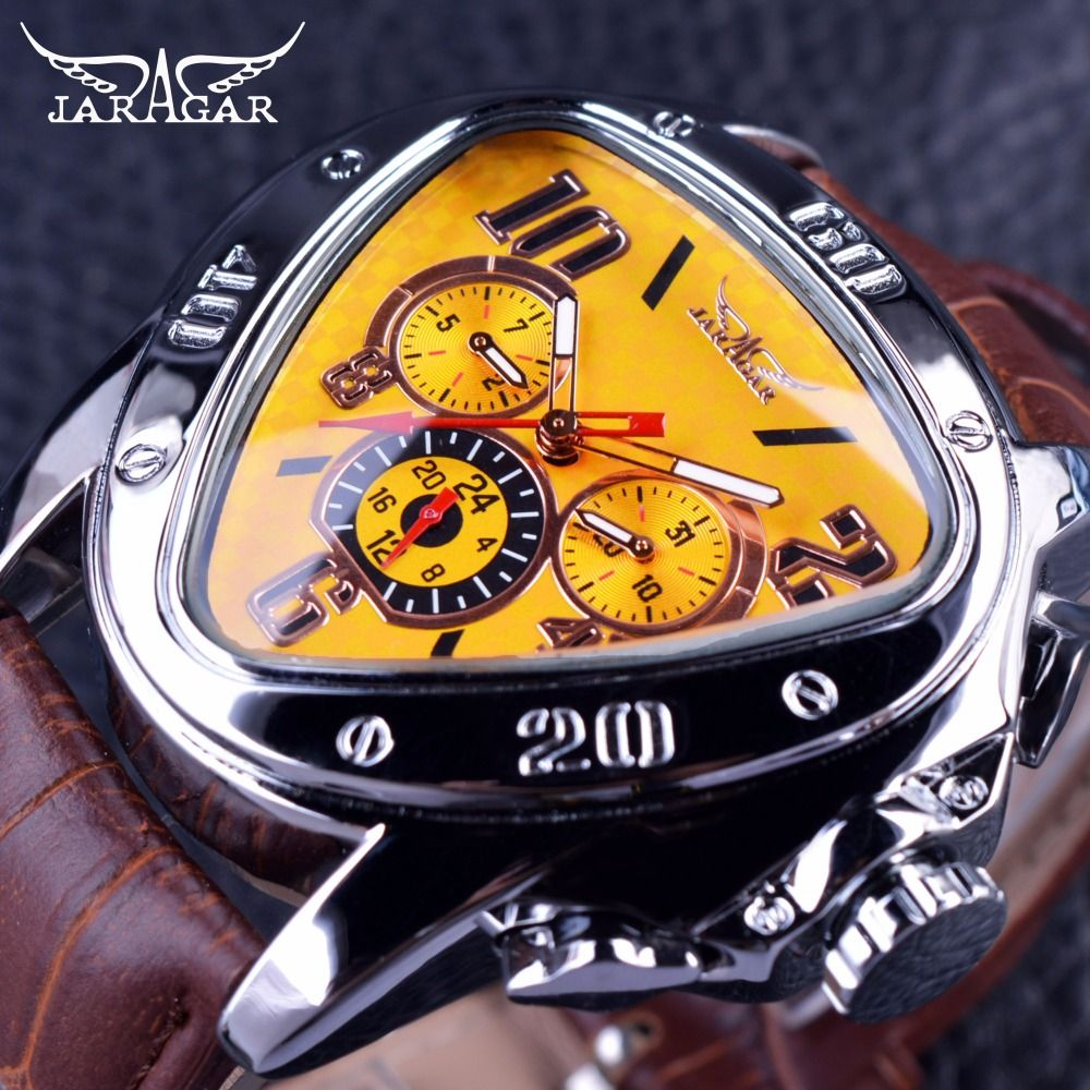 Jaragar Sport Fashion Design Geometric Triangle Case Brown Leather <font><b>Strap</b></font> 3 Dial Men Watch Top Brand Luxury Automatic Watch Clock