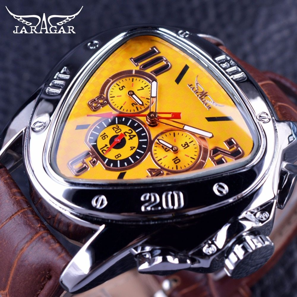 Jaragar Sport Fashion Design Geometric Triangle Case Brown <font><b>Leather</b></font> Strap 3 Dial Men Watch Top Brand Luxury Automatic Watch Clock