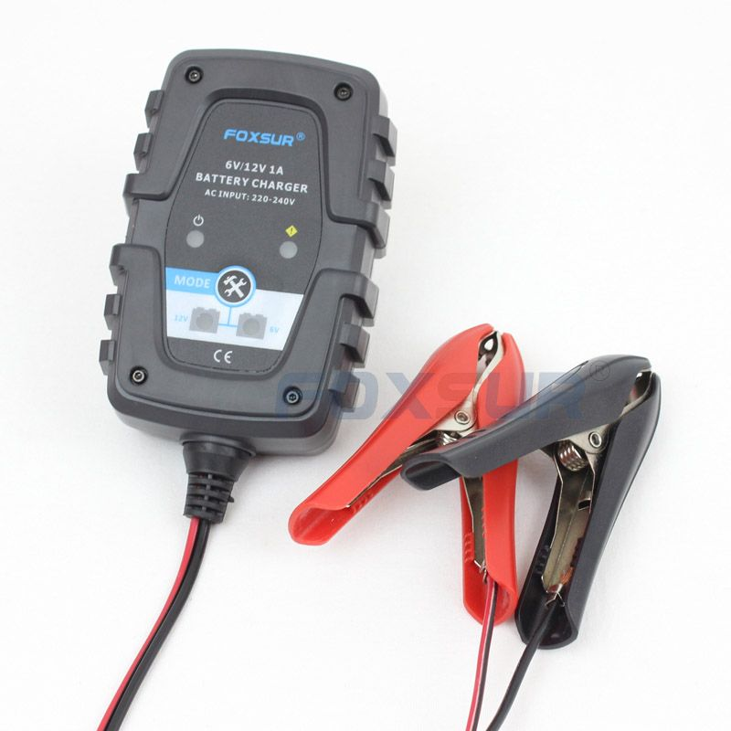 FOXSUR 6V 12V 1A Automatic Smart Battery Charger Maintainer for Car Motorcycle Scooter Deep Cycle AGM GEL VRLA Battery Charger