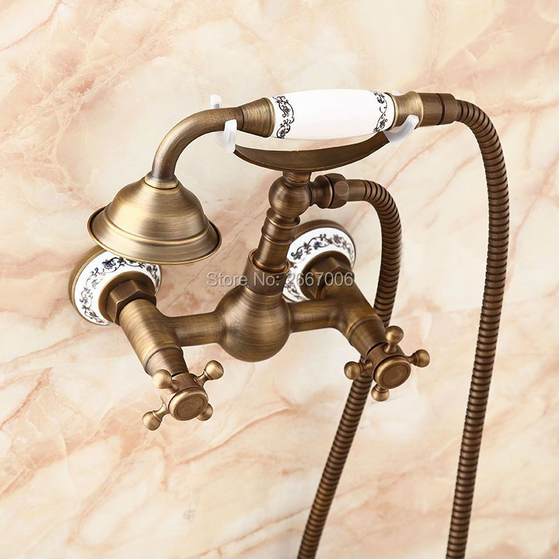 Free shipping Retro Antique Brass With Blue and White Porcelain Handle Mixer Telephone Design Bathroom Shower Faucet Set ZR014