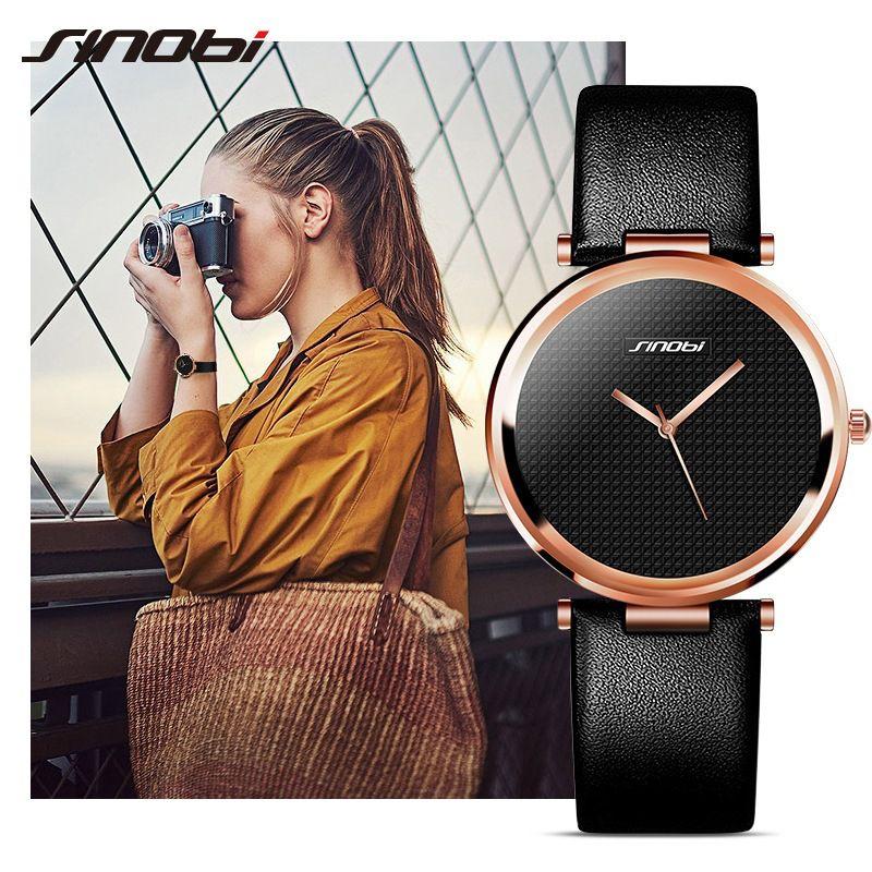 Sinobi Роскошные Для женщин часы Повседневное Кварцевые женские наручные Часы кожаные женские часы Lady Часы Relogio feminino Montre Femme 2018