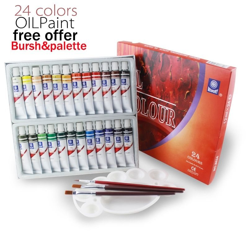 Memory brand oil colors paints fine painting supplies 24 colours 12ml <font><b>tube</b></font> offer brushes for free