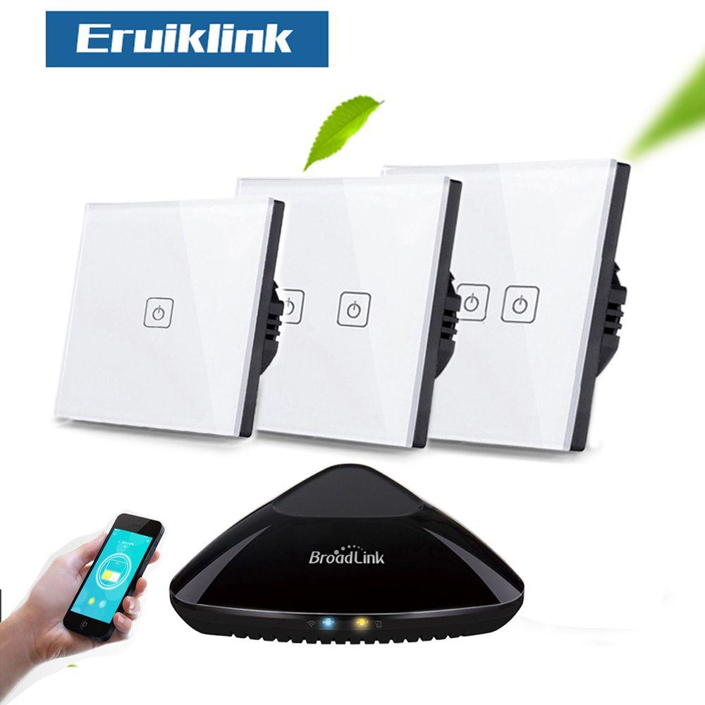 Eruiklink EU/UK Standard 1/2/3 Gang RF433 commutateur tactile mural de télécommande, commutateurs de lumière de télécommande sans fil de maison intelligente