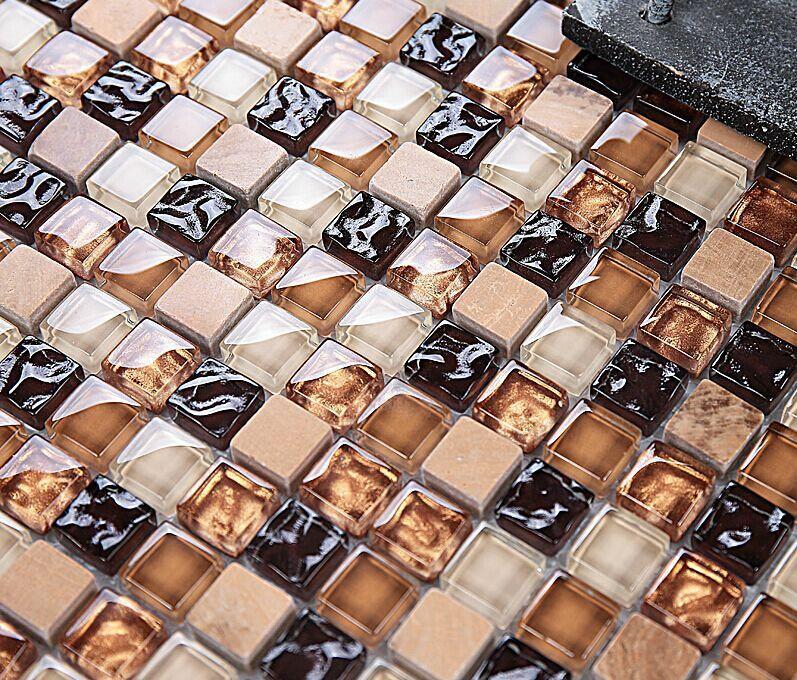 Ho tdesign Mármol azulejos de mosaico de vidrio azulejos de mosaico de piedra De Mármol para el baño de mesa y de pared TV/pared de la cocina backsplash decoración, LSTC005