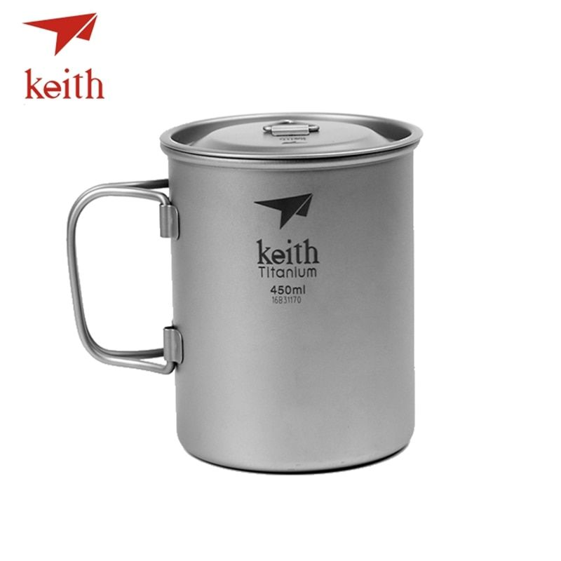Keith Outdoor Titanium Water Cups Camping Hiking Utensils Travel Mug Folding Handle Ultralight Tableware 450 500 500 650 900ml