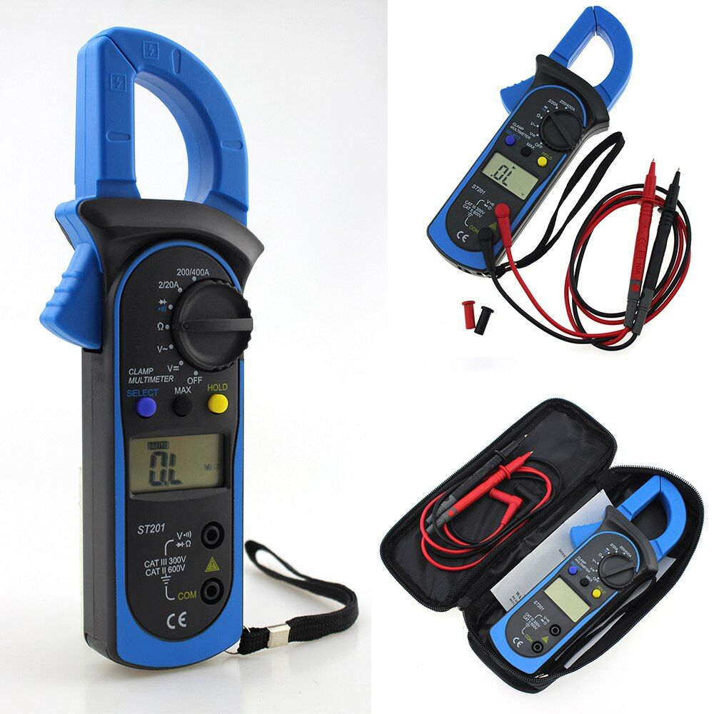 ST-201 Digital Multimeter Auto Range Clamp Tester Meter DMM AC DC Volt Ohm Frequency Clamp MultiMeter Best Accuracy P25