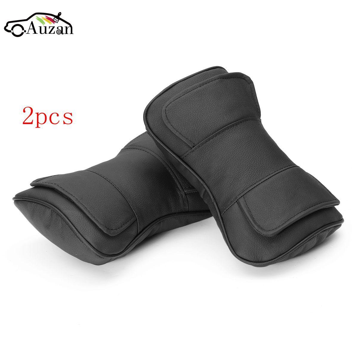 2pcs Car Neck Pillow Double Layer Leather Auto Car Seat Headrest Pad Neck Bone Pillow Cushion