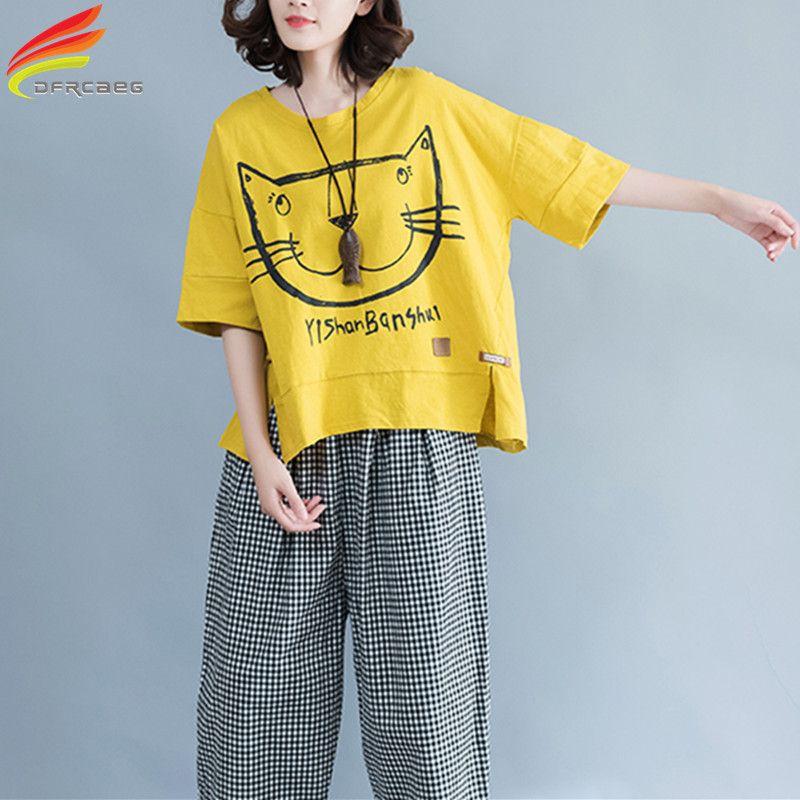 Col rond grande taille t-shirt femmes 2019 été décontracté lâche Oversize t-shirt Kawaii dessin animé chat imprimé haut pour femme t-shirts en coton