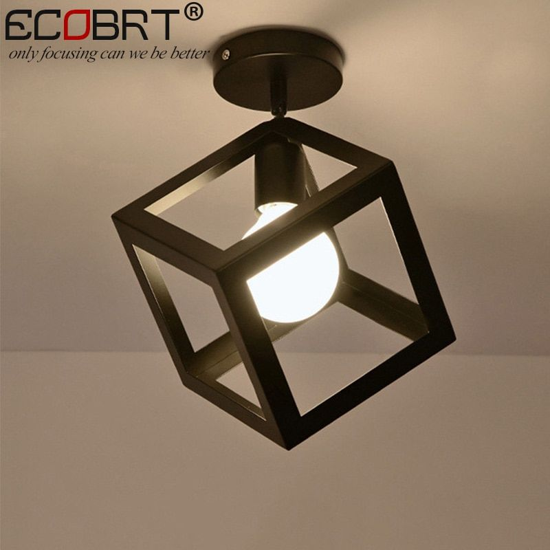 ECOBRT style nordique noir plafonniers avec prise E27 à la mode fer restaurant balcon étude plafonniers luminaires