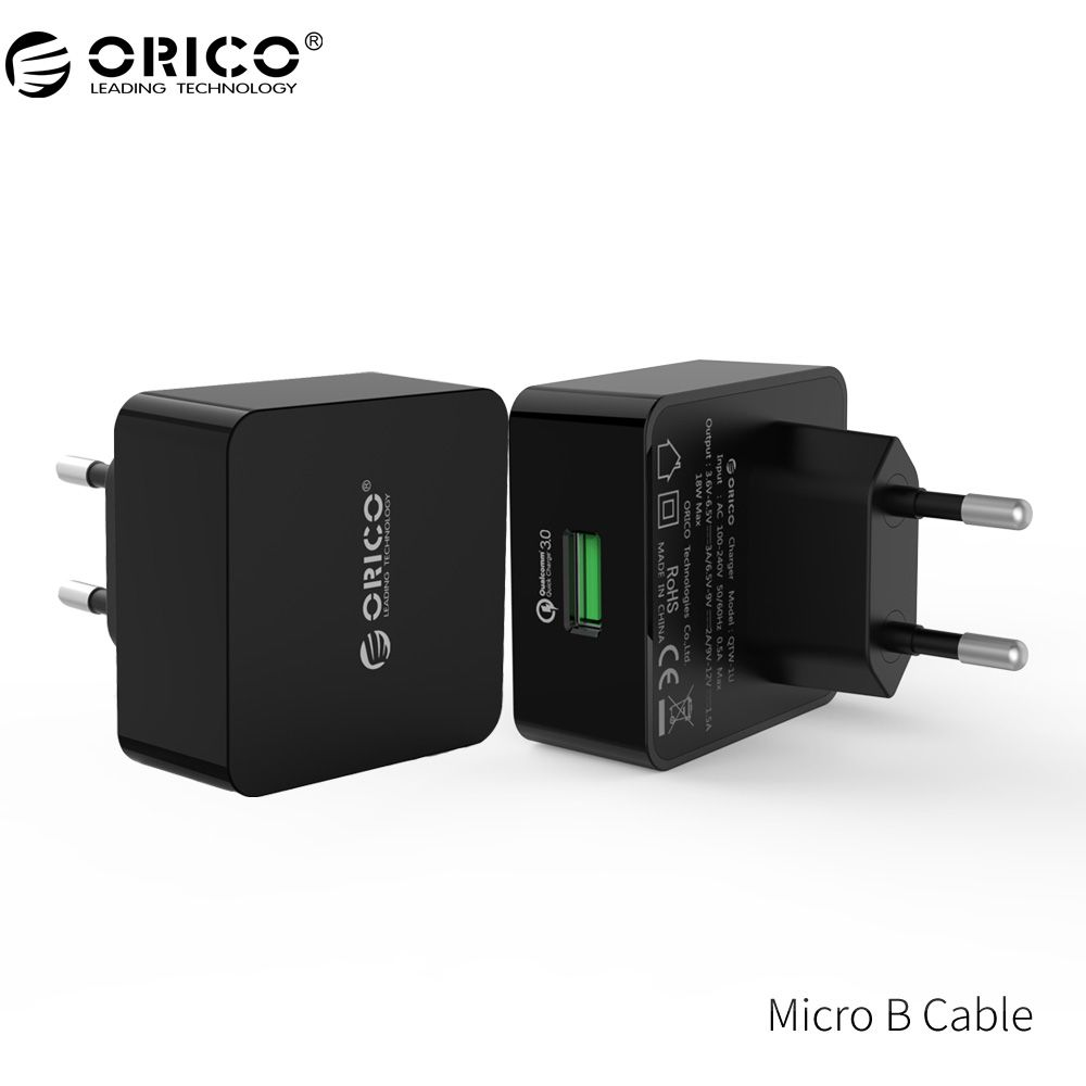 ORICO QTW-1U QC3.0 1 Port USB Quick Charger Wall Charger with 1m Free Micro USB Cable